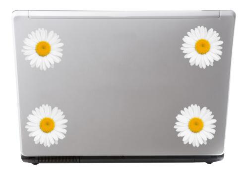 Flowers Daisy Laptop Bin Box Mirror Car Bike #0180 4 x Glossy Vinyl Stickers