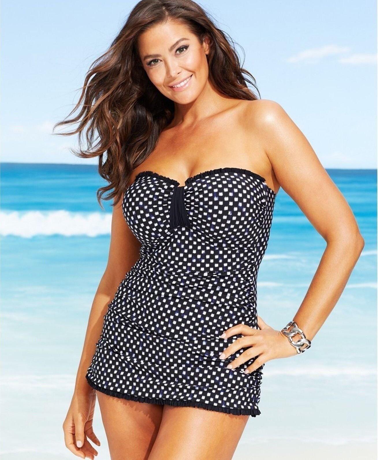 Profile Bali Bandeau Swimdress Tummy Control Ruffle Swimsuit Plus Size 18W & 22W