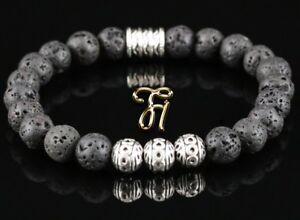 Lava-Armband-Bracelet-Perlenarmband-Silber-Beads-Buddha-schwarz-8mm
