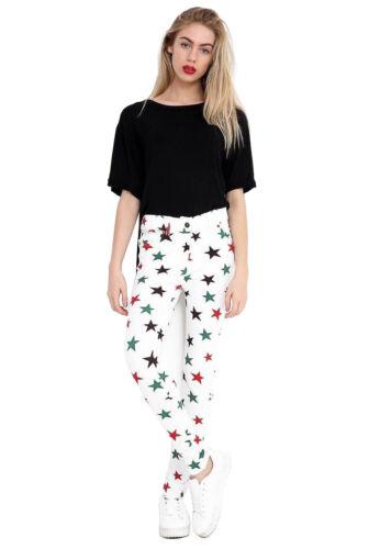 New Women Star Print Skinny Slim Stretch Jeggings Leggings White Size 6 to14
