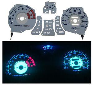 91-95 Mitsubishi 3000GT AC Auto Autotechnic White Reverse Glow Gauge Face Faces