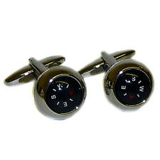 Black Working Compass Cufflinks With Gift Pouch Walking Trekking Map Reading
