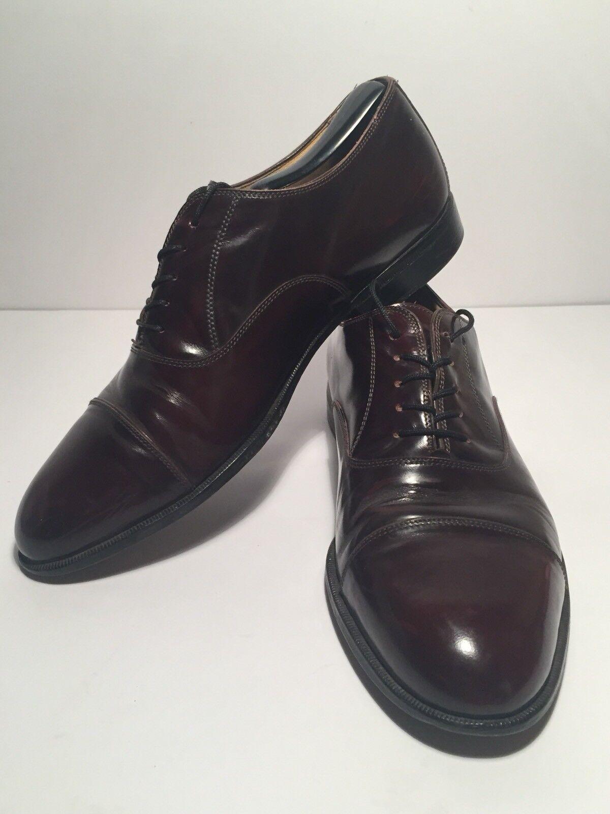 CAPORICCI Men's Burgundy Leather Cap Toe Dress shoes Size 8.5