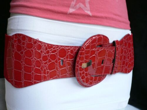 Women Chic Passion Red Holiday Belt Trendy Stretch High Waistband Size XS S M