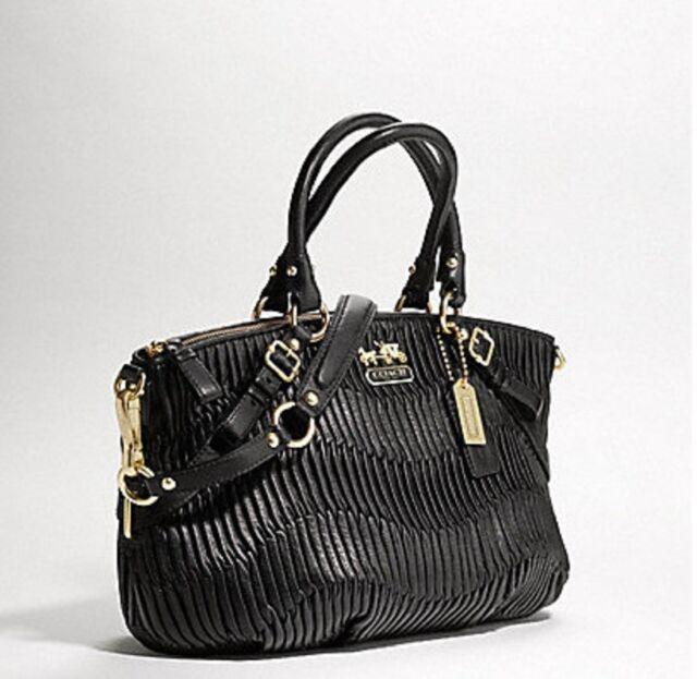 535df179 Coach Madison Sophia Black Gathered Italian Leather Medium Satchel 15942  MINT