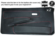 RED STICH 2X FRONT FULL DOOR CARD LEATHER COVER FOR FORD FIESTA MK2 XR2 EARLY