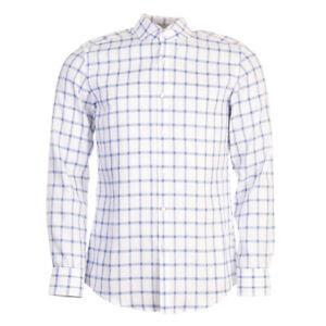 Hugo-Boss-Camisa-Azul-Blanco-Cuadros-Delgado-Talla-39cm-39-4cm-Cuello-Tr-170