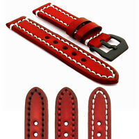 Strapsco Vintage Watch Band In Red W Contrast Stitching W Black Pre-v Buckle