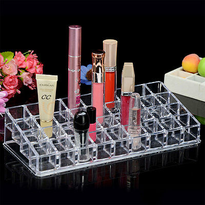 Women Clear Acrylic 24 36 Lipstick Holder Cosmetic Organizer Display Makeup Case