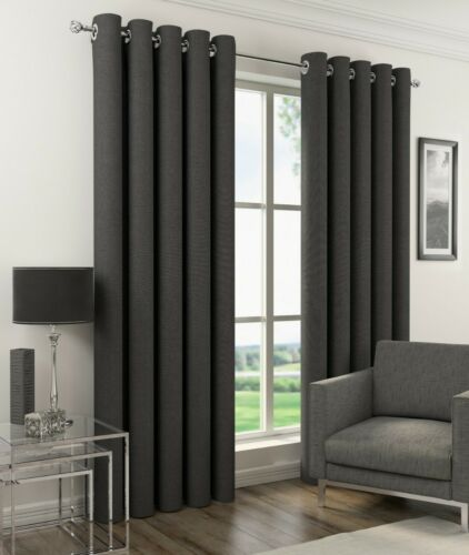 Orion Plain Woven Textured Linen Look Thermal Blackout Eyelet RingTop Curtains