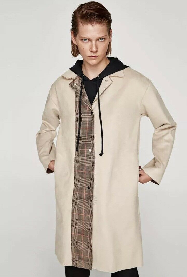 85edf18a New Zara Women Faux Suede Trench Coat Plaid Houndstooth Beige Sand Long  Sleeve M