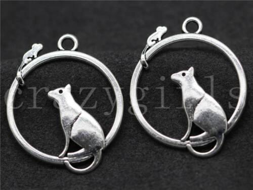 6//30//150pcs Tibetan Silver Beautiful Mouse Jewelry Charms Pendant DIY 32x26mm