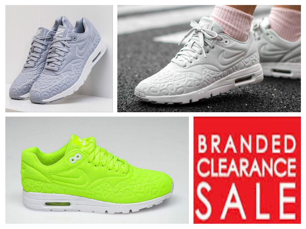 BNWT New Damenschuhe Nike Air Max 1 5 Ultra Plush Grau Weiß Yellow Größe 5 1 6 7 uk 5d38d4