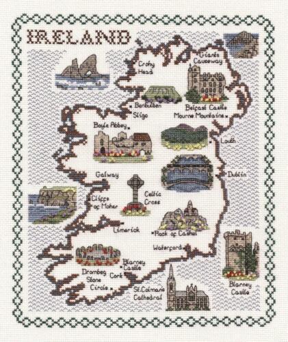 Mapa /& monumentos de Irlanda-Clásico 14ct puntada cruzada contada Kit