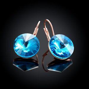 Gold-Plated-Blue-Crystal-Rhinestone-Elegant-Ear-Stud-Earrings-Jewelry-Clip-On