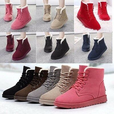 Women's Flat Lace Up Faux Fur Lined Winter Boots Snow Ankle Boots Casual Shoes