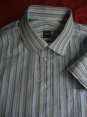 Ike Behar Blue Stripe Mens Dress Shirt Spread Collar 15.5 34//35