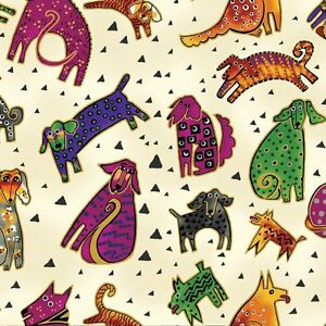 Laurel-Burch-Dogs-amp-Doggies-Cotton-Fabric-Y1800-57M-Cream-w-Gold-Metallic-BTY