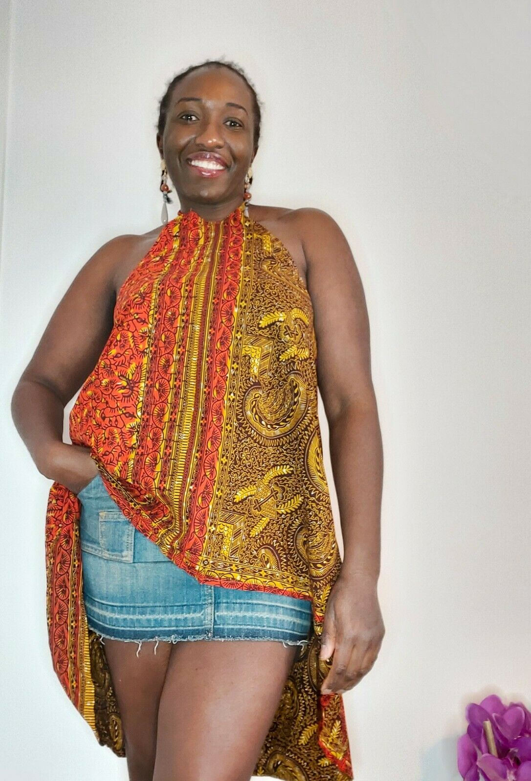 New African fabric Ankara spag high and low Top one size UK 12 multicoloured
