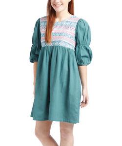 Coton Robe Boho Taille 14 Short Femme Vert Géométrique Avec Manches Bouffantes-afficher Le Titre D'origine