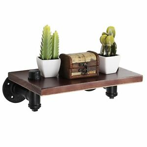 Details About 12 Inch Pipe Metal And Wood Floating Shelf Wall Mount Display Rack