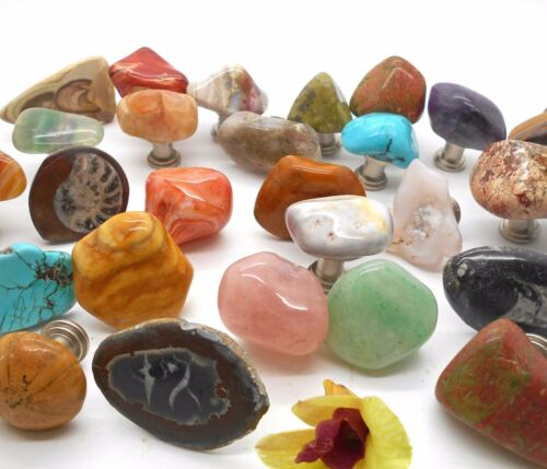 36 Assorted Polished Stone Cabinet Knobs and Drawer Pulls