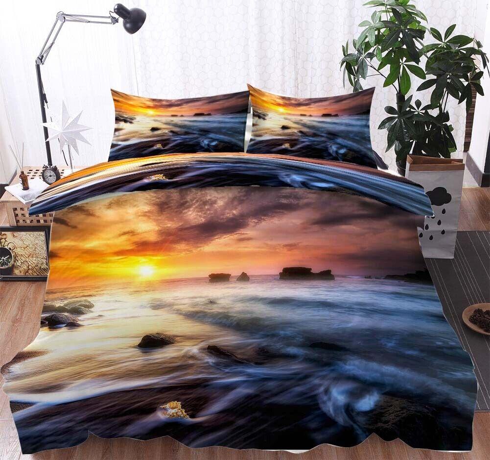 A Calm Sea Tide 3D Printing Duvet Quilt Doona Covers Pillow Case Bedding Sets