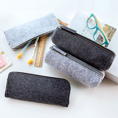 New Felt Pencil Pen Case Cosmetic Bag Makeup Pouch Zipper Student Supplies Cute