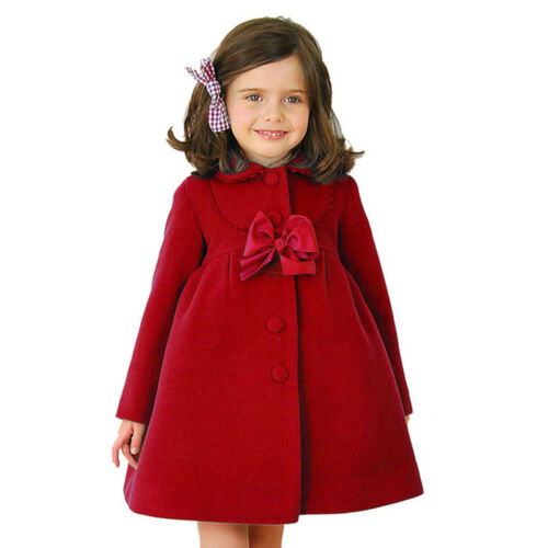 Kids Flower Girl Winter Princess Bowknot Cloak Coat Toddler Long Sleeve Outwear