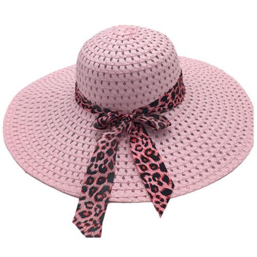 Womens Holiday Sunhats Bowknot Summer Beach Lady Visor Wide Brim Caps Straw Hats