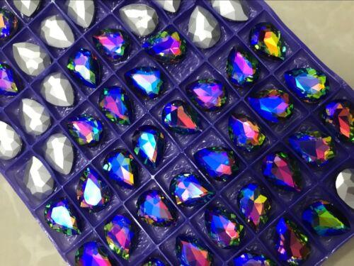 100 PCS 10mm x 14mm Glass Color Purple Faceted Glass Tear Drop Jewels