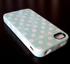 For iPHONE 4 4S - HARD & SOFT RUBBER HYBRID SKIN CASE COVER MINT BLUE POLKA DOTS
