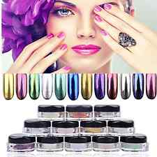 12 Colors Shinning Mirror Glitter Effect Powder Nail Art Sequins Chrome Pigment