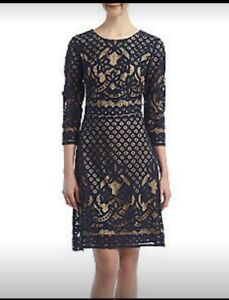 Details About Nwt Gabby Skye Lace Shift Evening Dress Navy Crochetnude Sz 14 Above Knee