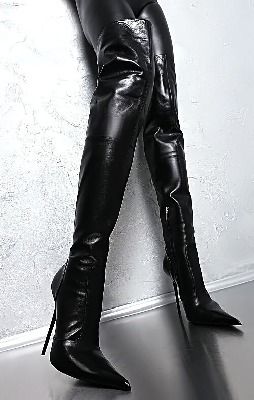 LUXURY OVERKNEE LEATHER BOOTS FROM 1969 ITALY STIEFEL STIEFEL STIEFEL LEDER Z25 HIGH HEELS 38 bb9724