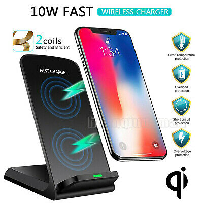 Qi Wireless Fast Charger Charging Pad Stand Dock For iPhone 11 XR Samsung S10S9 | eBay
