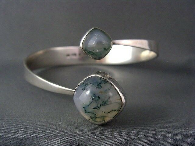 EXQUISITE! Vintage Sterling SCANDINAVIAN GUSSI Moss Agate Modernist Cuff Bangle