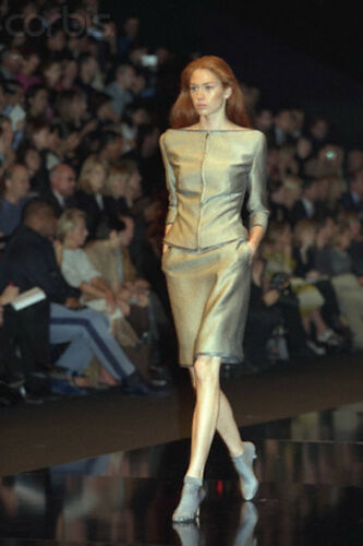 Alexander Mc Queen For Givenchy Couture S/S 1999 Green Silk & Cotton Suit Sz 38 by Givenchy