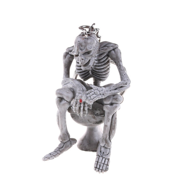 Creative Skeleton on Toilet Key Chain Key Ring Novelty Gift Rubber Metal Ring KQ