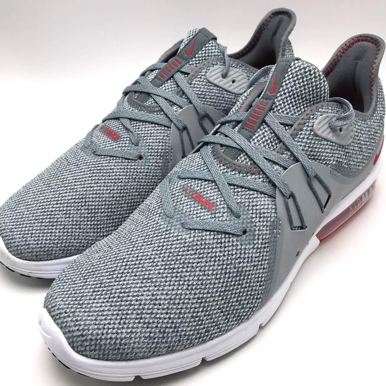 f1ae15918a Men's Nike Air Max Sequent 3 Size 12 Grey Red White Running Shoes ...
