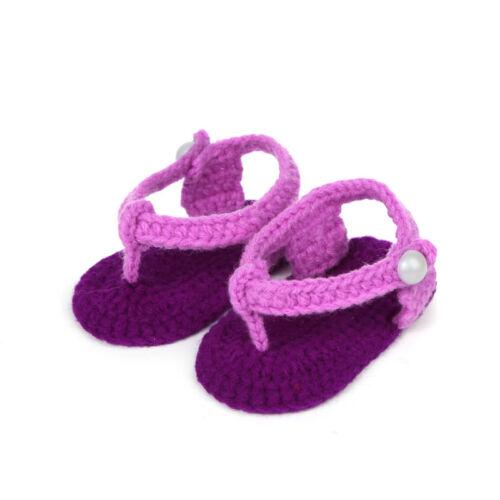 Baby Kid Girls Crib Crochet Shoes Boots Handmade Knit Sock Infant Shoes Footwear