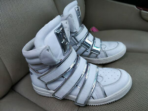 Dsquared2-Italy-Womens-White-Silver-Leather-High-Top-Sneakers-Trainers-Shoes