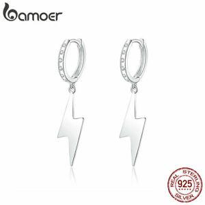 BAMOER-S925-Sterling-Silver-CZ-Stud-Earrings-Lightning-Women-European-Jewelry