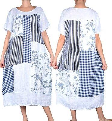 Damen Lagenlook Sommer Leinen Tunika Hängerchen Bluse Hemd