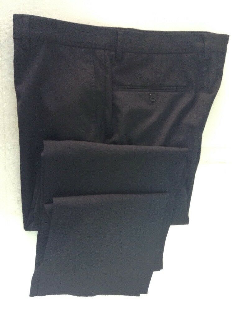 VERSACE Collection Navy Flat Front Wool Blend Dress Pants W38 R