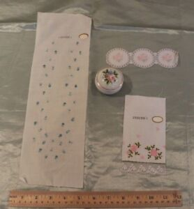 3 Vintage Swiss Rose Embroidery Samples On Cotton & Lawn Fabric