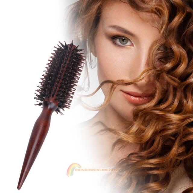 Wood Handle Bristle Anti-static Curly Hair Comb Hairdressing Radial Round Brush
