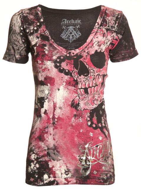 Archaic AFFLICTION Womens T-Shirt HYDRATE Skulls Tattoo Biker Sinful S-XL $40 b