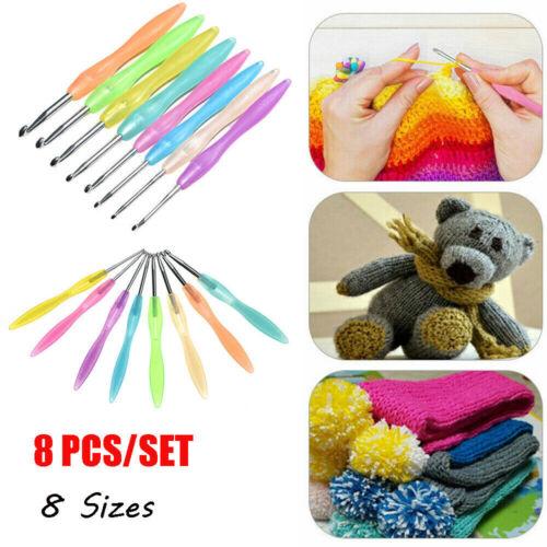 8X Crochet Hook Set Ergonomic Yarn Grip Kit Knitting Needle Sewing Tool Soft