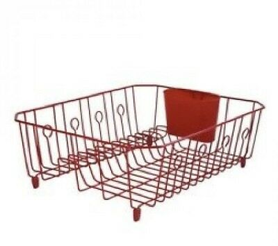 RUBBERMAID SINK LARGE WIRE DISH RACK DRAINER RED 6032-AR